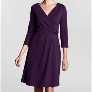 Land's End Wrap Waist Ponte Purple Dress • Medium